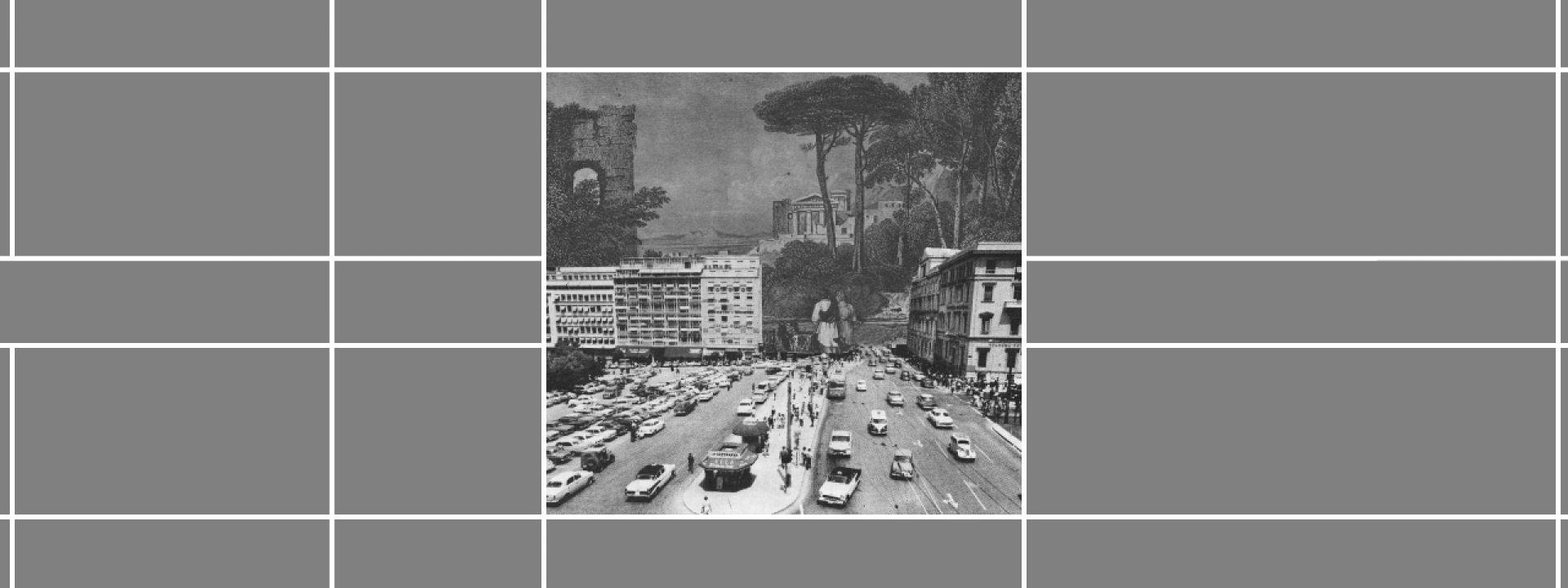 Ασπρόμαυρη φωτογραφία που αποτυπώνει την παλιά αρχιτεκτονική της πόλης