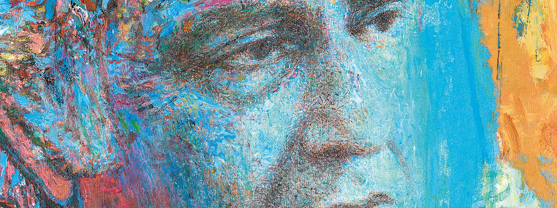 Φωτογραφία από πορτρέτο του Ελύτη, δημιουργία του Γιάννη Ψυχοπαίδη