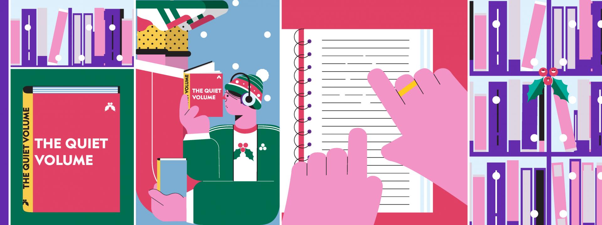 Animation με χριστουγεννιάτικη διάθεση και εορταστικά χρώματα για την performance The Quiet Volume