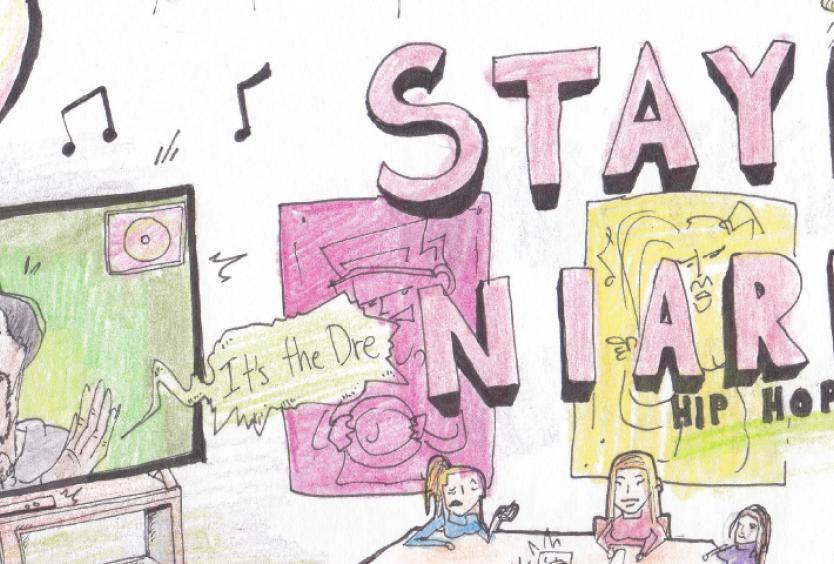 Ευφάνταστο και πρωτότυπο σχέδιο που απεικονίζει παιδιά τα οποία μαθαίνουν για τη μουσική σύνθεση σε στούντιο