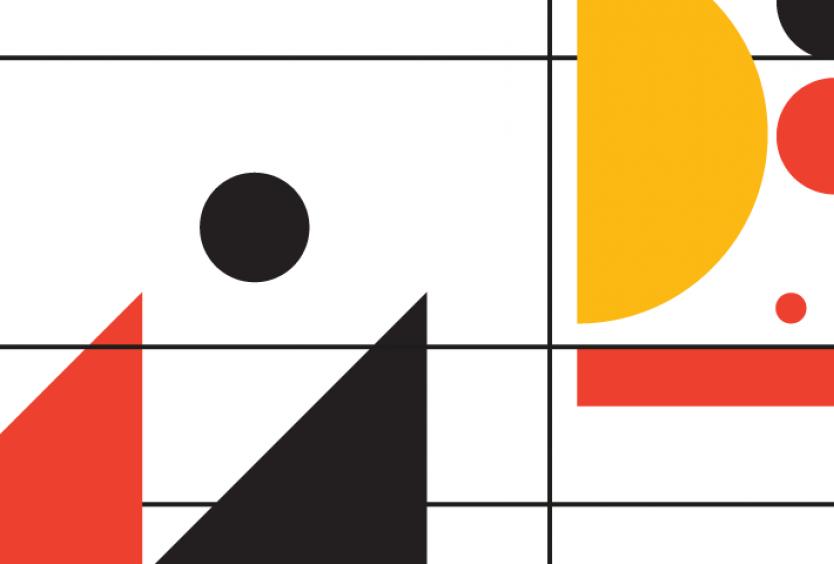 Εικαστικό με γεωμετρικά σχήματα για τη συναυλία του Theo Kapilidis Quartet στο πλαίσιο της σειράς Jazz Chronicles